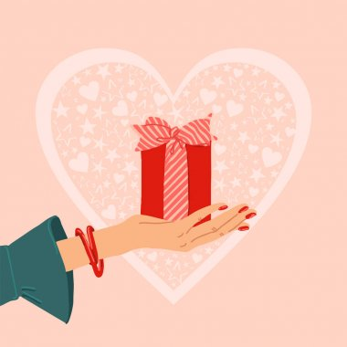 Illustration of person giving, receiving gift package.