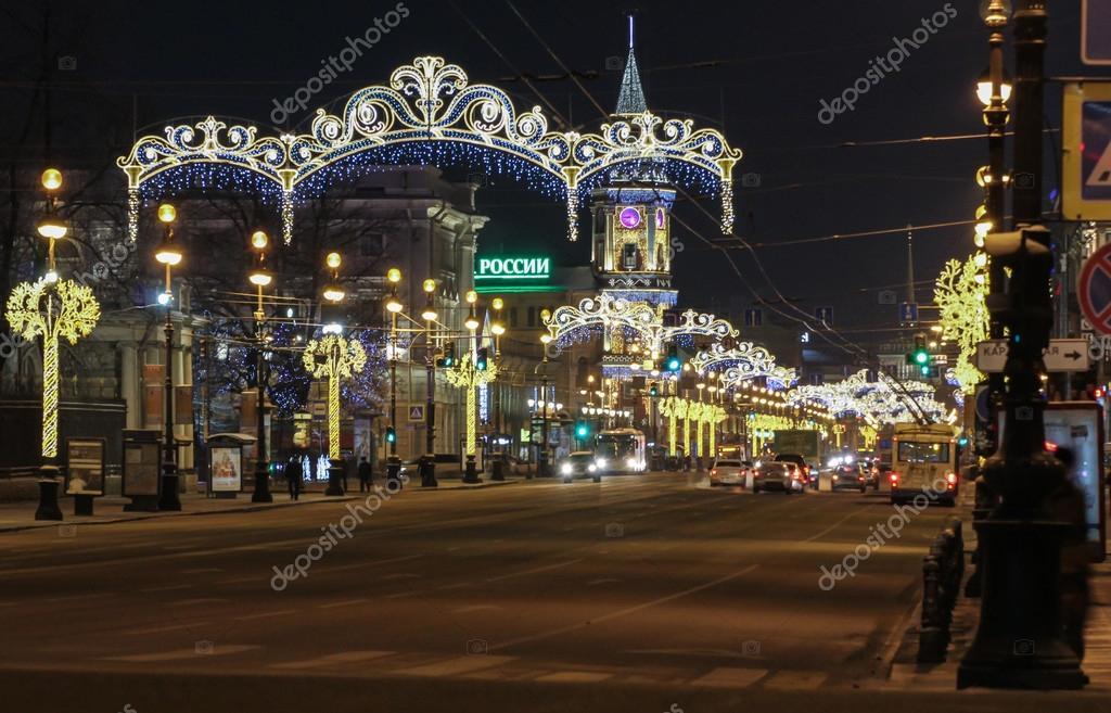 weihnachten beleuchtung nevsky prospekt redaktionelles. Black Bedroom Furniture Sets. Home Design Ideas
