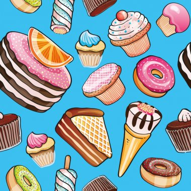 Background of pies and sweet products on blue background