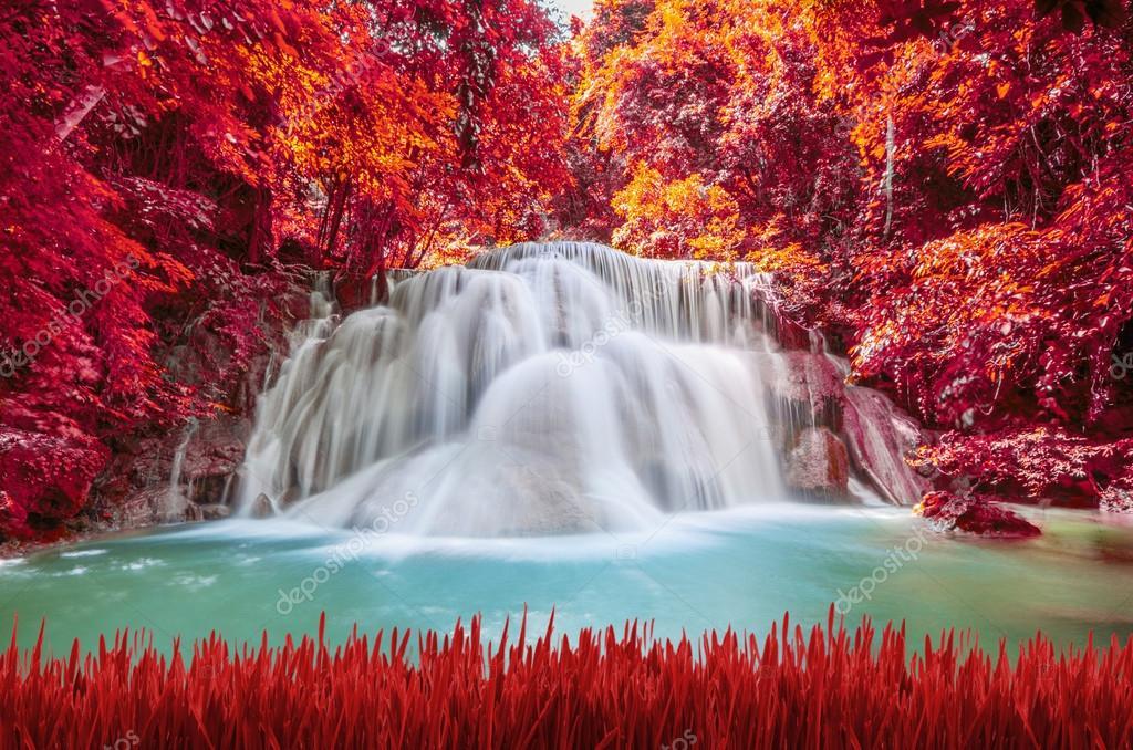 Beautiful deep forest Waterfall ,Huay Mae Khamin, Kanchanaburi ,