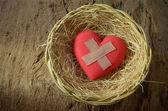 zraněné srdce v košíku