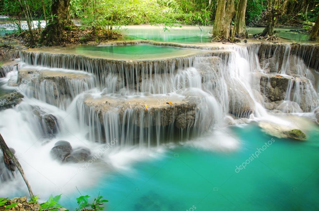 Фотообои Deep forest Waterfall ,Huay Mae Khamin, Kanchanaburi ,Thailand