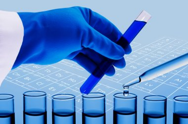 Scientist hand holding test tubes , Laboratory research concept
