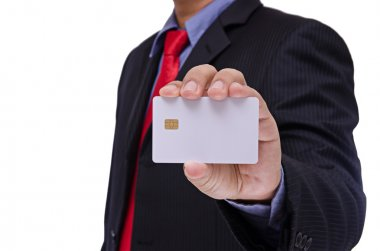 businessman holding blank smart card isolated on white backgroun