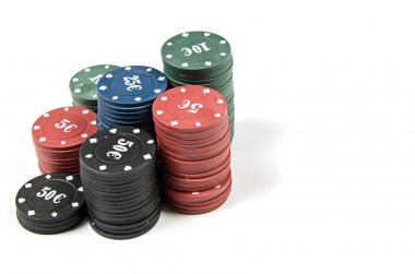 stack of poker chips on white background