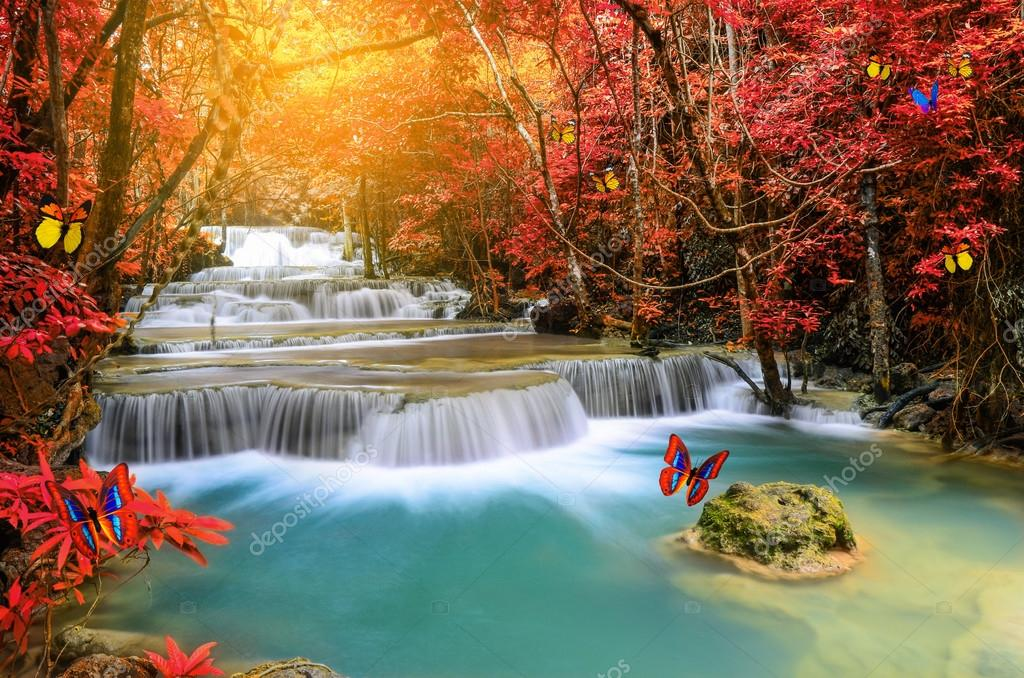 Deep forest Waterfall with artificial butterfly