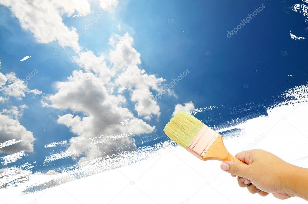 Paint White clouds in blue sky background