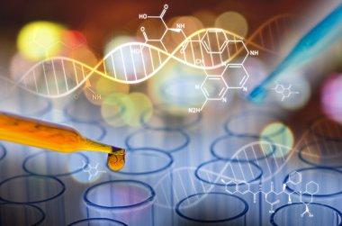 scientist laboratory test tube in future tone