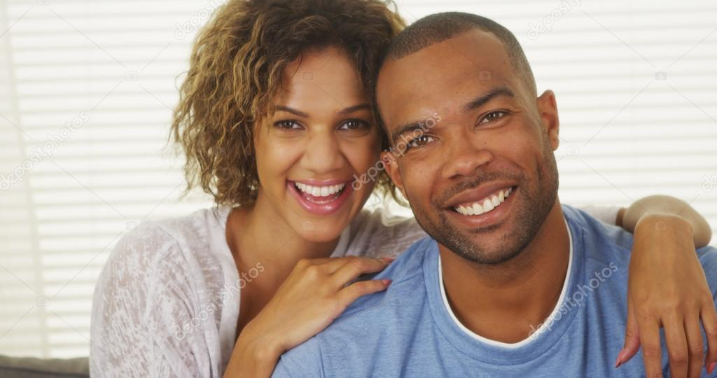 Happy African American Couple Smiling