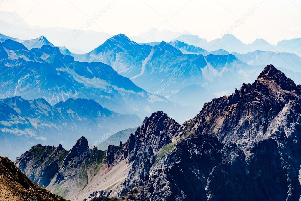 Hazy view of Tirol mountains