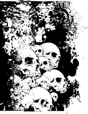 """Картина, постер, плакат, фотообои """"стена иллюстрации черепов"""", артикул 57501749"""