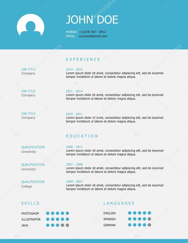 Azul gris estilo simple profesional reanudar la plantilla — Archivo ...