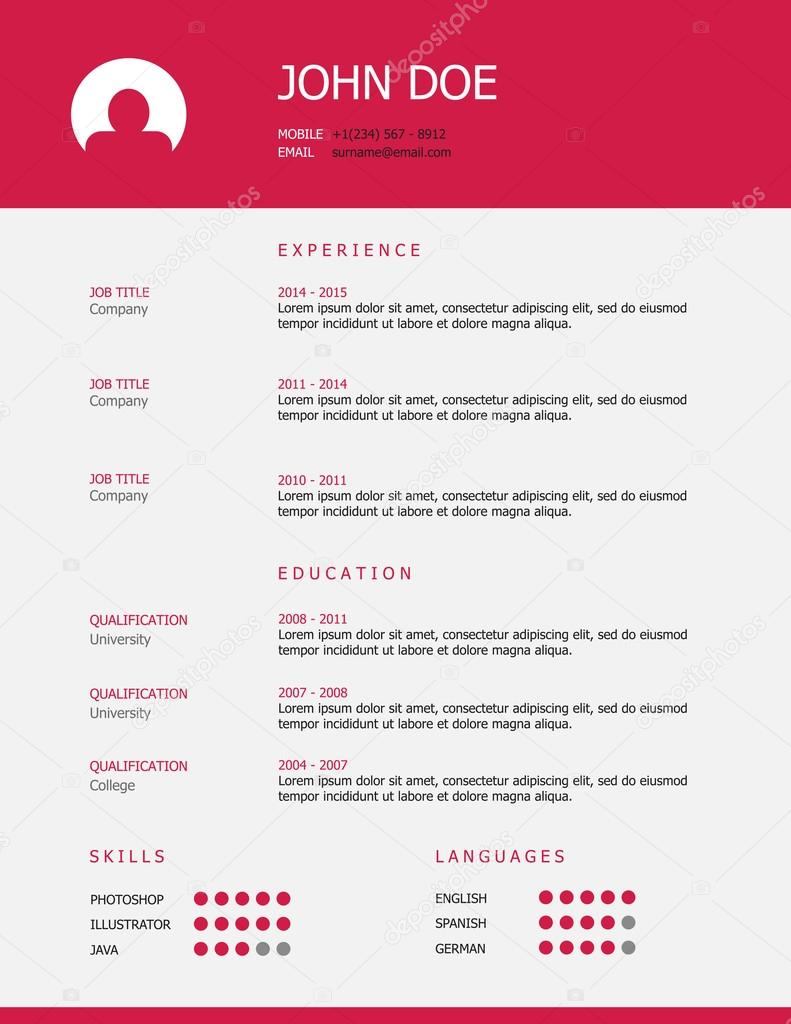 Professional Simple Styled Resume Template Stock Vector