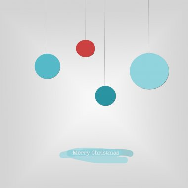 Sleek modern Merry Christmas card with blue and red Christmas ba