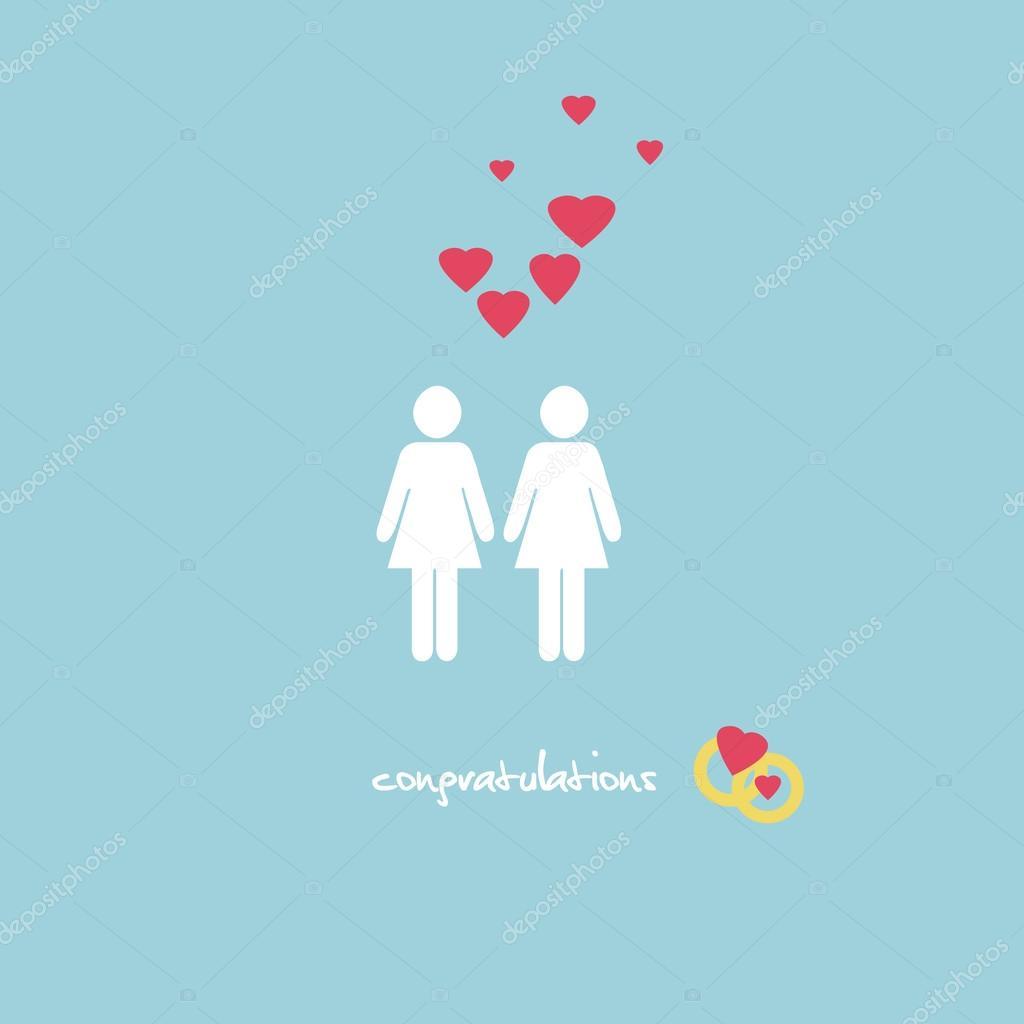 Auguri Matrimonio Lesbo : Bröllop gratulationskort — stockfotografi winterbee