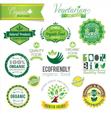 Biological and Natural Farm Fresh vector crests, icons and badge