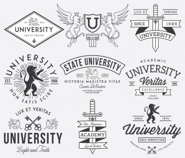 College and University badges Black on White