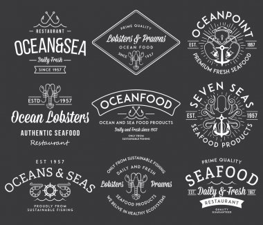 White on black seafood labels and badges vol. 3 for any use clip art vector