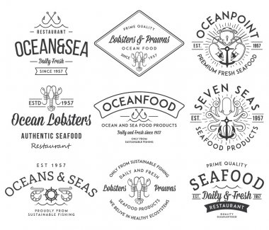 Seafood labels and badges vol. 3 black on white