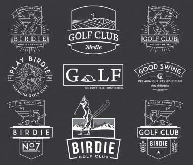 Golf Badges and Labels vol 2 white on black