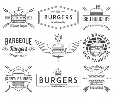 Fast food badges and icons black on white 1