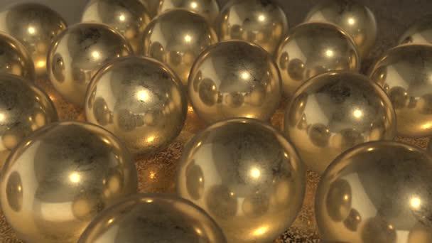 3D Golden Balls on golden table