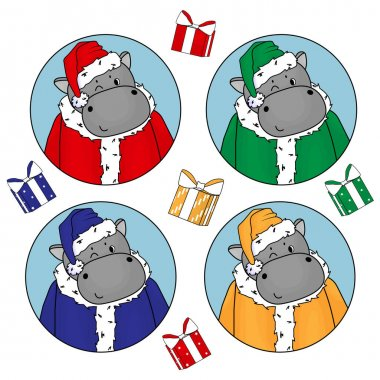 Set of cute hippos in Santa Claus costume in red, green, blue and yellow colors. Fur coat, hat and gifts elements icon