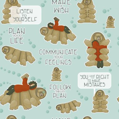 Seamless pattern of tardigrades with reading human and different phrases from water bear. Let you dreams come true, let yourself make mistakes, make a wish, create a plan, follow your dream. icon