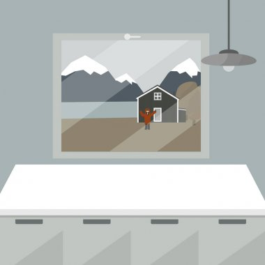 White kitchen table and window in the room. There is wooden house in the yard, man raised his hands up and waving near the river and mountains in autumn or winter icon