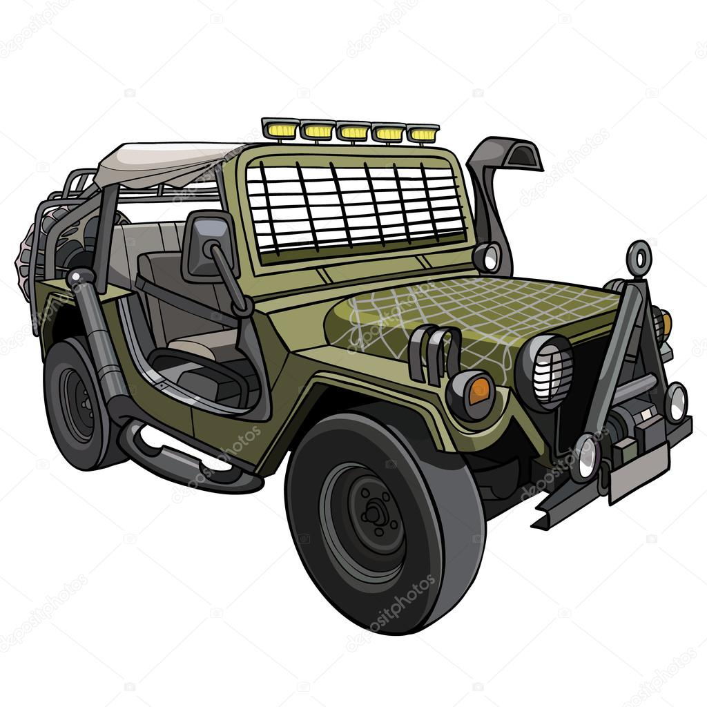 Dessin Anim Voiture Suv Militaire Avec Auvent Et Auvents Image