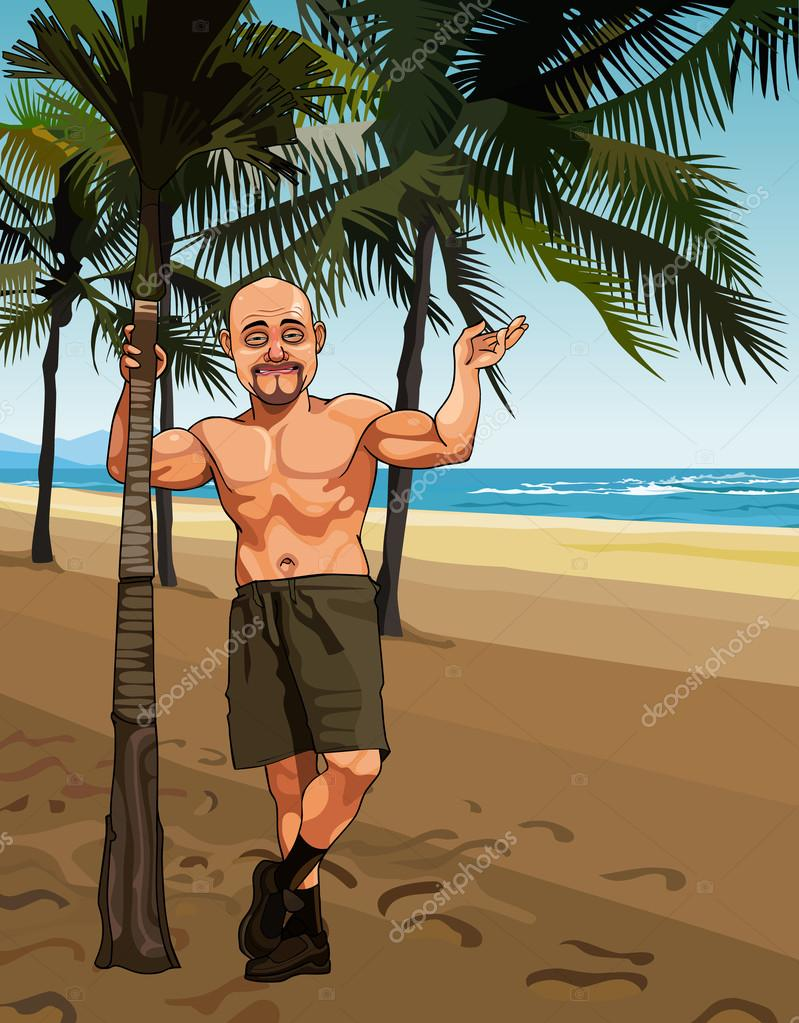 Cartoon smiling bald man in shorts on a sandy beach with palm trees cartoon smiling bald man in shorts on a sandy beach with palm trees stock vector voltagebd Choice Image