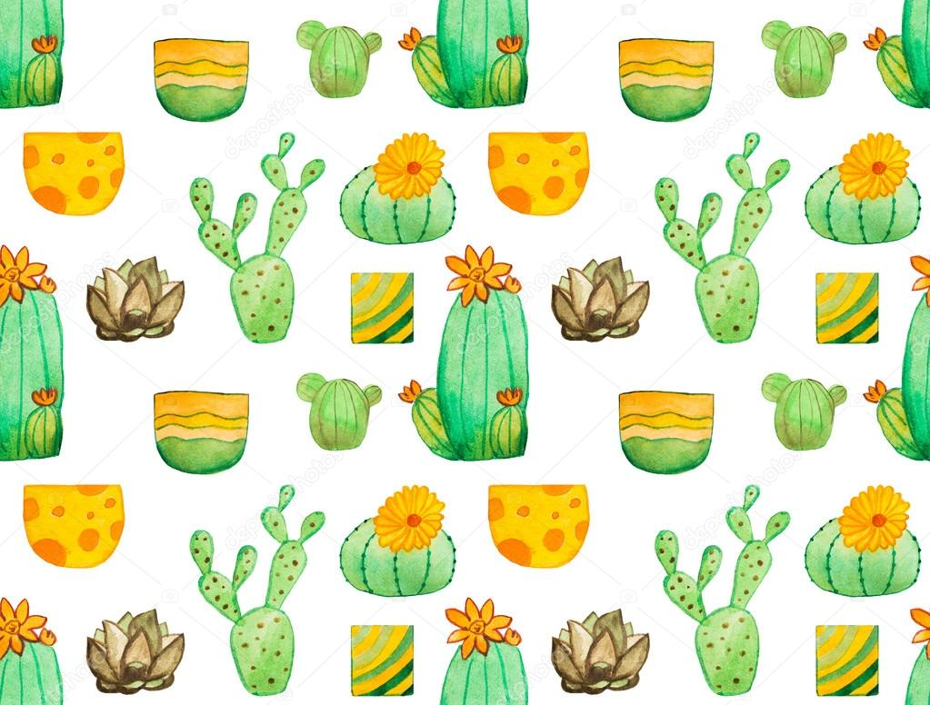Watercolor cactus seamless pattern