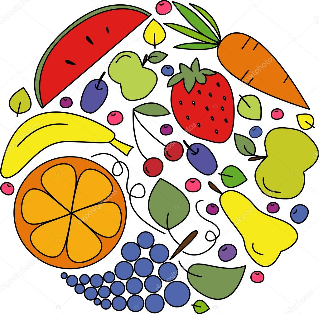 Vector collection of fruits, berries and vegetables