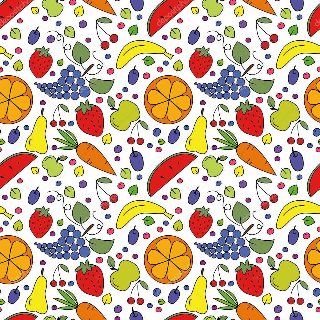 Vector seamless pattern of fruits, berries and vegetables