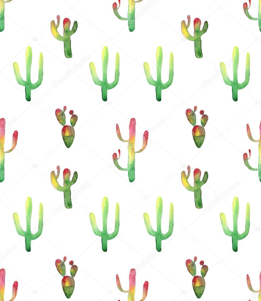 Watercolor cactus seamless pattern. Colorful vibrant cactus succulents