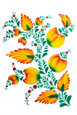 Traditional Ukrainian folk  painting in Petrykivka style. Hand drawn Petrikovka illustration. Gouache painting.