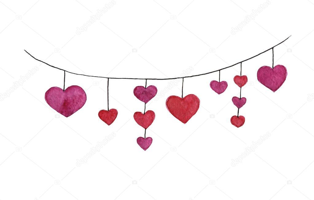 Aquarell von Hand gezeichnete Herz Girlande mit roten Herzen ...