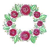 Fotografia Corona di bellissime rose dellacquerello