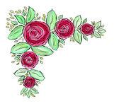 Fotografia Cornice di belle rose dellacquerello