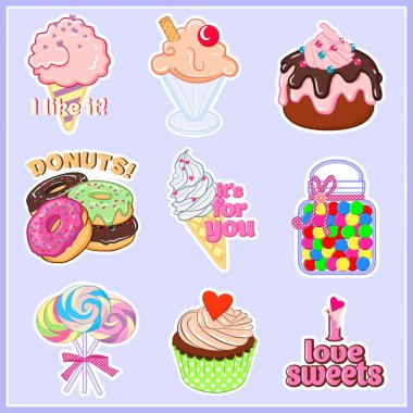 Vector illustrations of lovely stickers (can be used as little prints for shirts, briefs, pants, pajamas, underwear and another wear). Compositions of sweets and font with contour for cutting