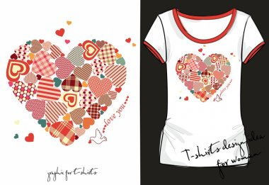 Illustration of trendy sketch woman's shirt with color vintage print with big heart consisting of many small colorful hearts, dove and inscription