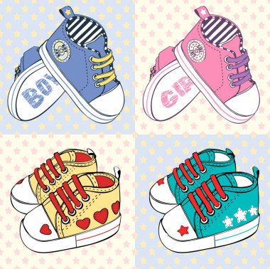 Vector illustration of  little children's sport shoes with stripes for baby girl and baby boy