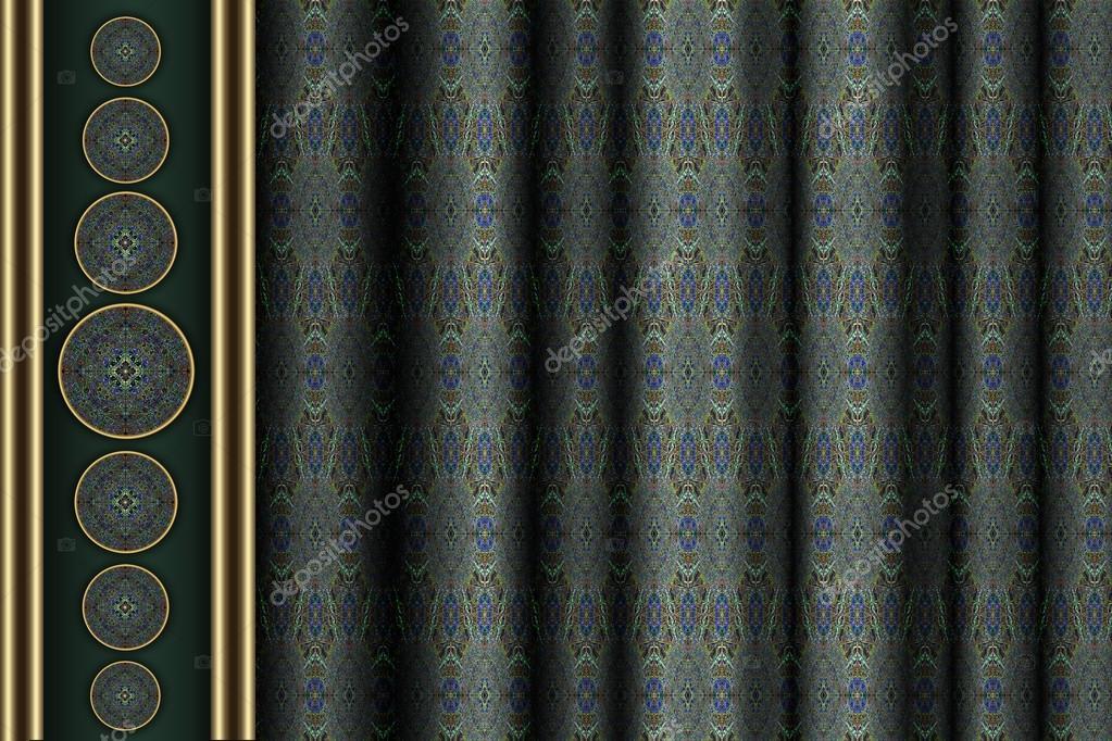 gröna mönstrade gardiner