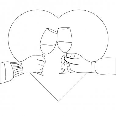Outline couple in love clinking with wine vector illustration in valentines day. Two hands clinking cheers and heart shape in the background icon
