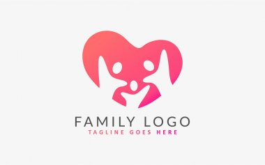 Family Group Form a Love Shape, Colorful Logo Illustration. Flat Vector Logo Design Template. Graphic Design Element. icon