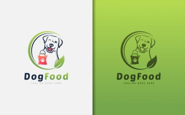 Creative Dog Food Logo Design. The Dog Carries The Pack of Food Logo Design. Animal Vector Logo Illustration. Graphic Design Element. icon