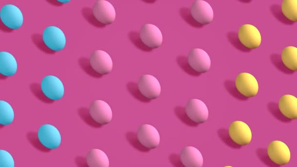 Colorful Easter Eggs rotating in rows in seamless loop on pink background