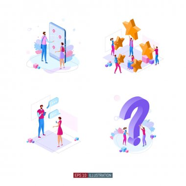 Trendy flat illustration. Phone navigation application. People are messaging. Customer feedback. Frequently asked questions. Template for your design works. Vector graphics. icon