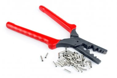 Cable tube terminals and scrimping pliers