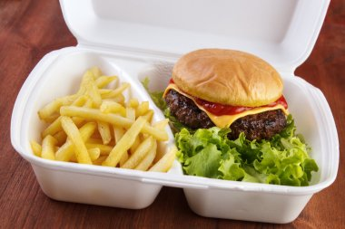 Burger and fries portion